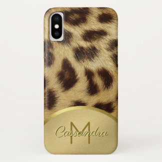 Capa Para iPhone X Ouro Emossed do monograma da pele do leopardo do