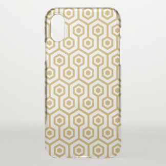 Capa Para iPhone X Ouro geométrico moderno e branco do teste padrão