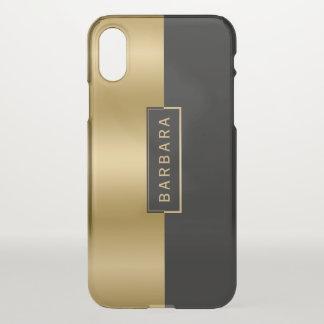 Capa Para iPhone X Ouro liso moderno & design geométrico preto