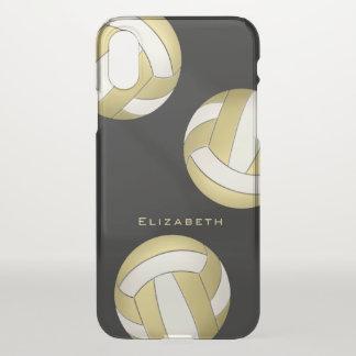 Capa Para iPhone X ouro personalizado no voleibol das mulheres negras