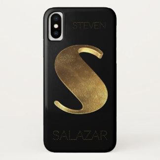 Capa Para iPhone X Ouro preto Monogrammed da inicial S do monograma