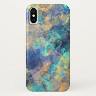 Capa Para iPhone X Ouro verde azul do teste padrão de cristal