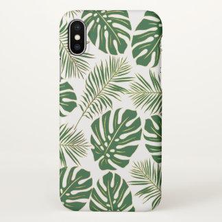 Capa Para iPhone X Ouro verde moderno das folhas tropicais