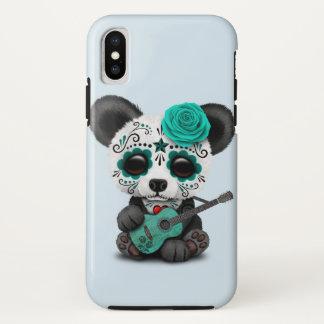 Capa Para iPhone X Panda azul do crânio do açúcar que joga a guitarra