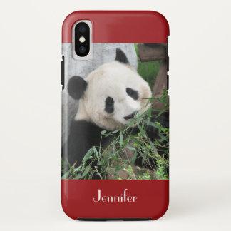 Capa Para iPhone X Panda gigante bonito, obscuridade - vermelho,