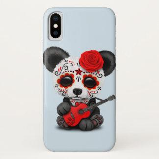 Capa Para iPhone X Panda vermelha do crânio do açúcar que joga a