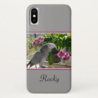 Capa Para iPhone X Papagaio do cinza africano com orquídeas