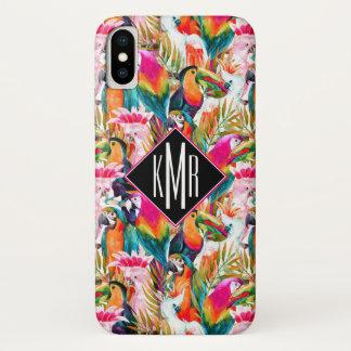 Capa Para iPhone X Papagaios & monograma das folhas de palmeira  