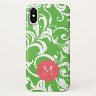 Capa Para iPhone X Papel de parede floral CustomMonogram da melancia