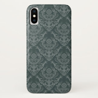 Capa Para iPhone X Papel de parede floral verde luxuoso do damasco