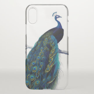Capa Para iPhone X Pássaro real colorido elegante azul do pavão do