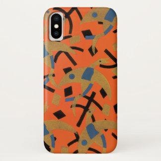 Capa Para iPhone X Pássaros dourados de Pochoir do jazz do art deco
