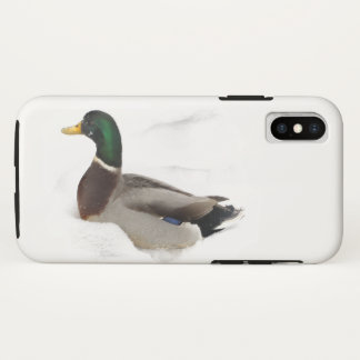 Capa Para iPhone X Pato do pato selvagem no caso do iPhone X da neve