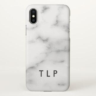 Capa Para iPhone X Pedra de mármore branca elegante do monograma