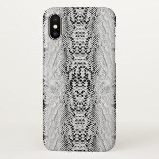 Capa Para iPhone X Pele de cobra do falso preto e branco