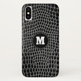 Capa Para iPhone X Pele preta feita sob encomenda do crocodilo do