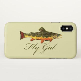 Capa Para iPhone X Pesca com mosca da truta da mulher