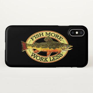 Capa Para iPhone X Pescador cómico da pesca da truta