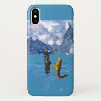 Capa Para iPhone X Pescador & Rod que pescam fora o design 2
