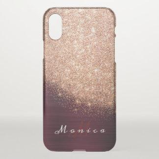 Capa Para iPhone X Pêssego cor-de-rosa Borgonha do ouro do nome do