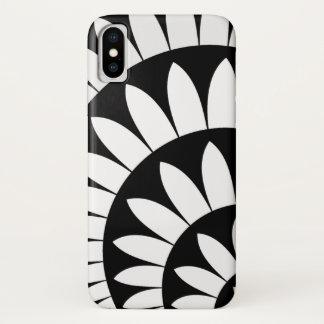 Capa Para iPhone X Pétalas preto e branco da flor