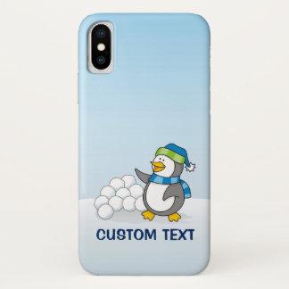 Capa Para iPhone X Pinguim pequeno com ondulação das bolas da neve