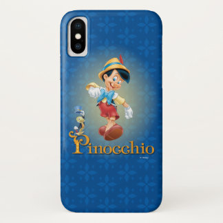 Capa Para iPhone X Pinocchio com grilo 2 de Jiminy