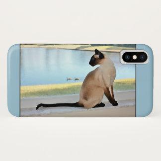 Capa Para iPhone X Pintura calma do gato Siamese