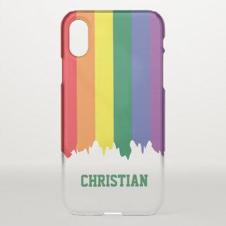 Capa Para iPhone X Pintura do gotejamento do arco-íris do orgulho gay
