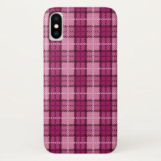 Capa Para iPhone X Pixel Plaid_Magenta-Black