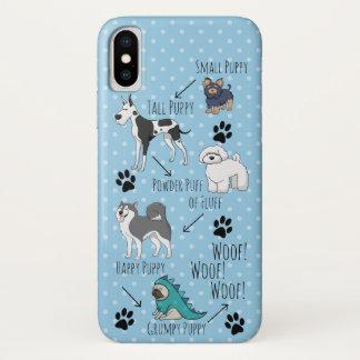 Capa Para iPhone X Poema engraçado do filhote de cachorro