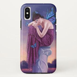 Capa Para iPhone X Por do sol - fada azul da borboleta de monarca