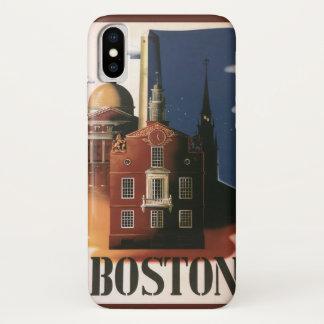Capa Para iPhone X Poster das viagens vintage de Boston,