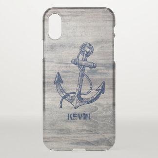 Capa Para iPhone X Pranchas de madeira envelhecidas & âncora náutica