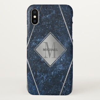 Capa Para iPhone X Prata azul do granito do monograma masculino