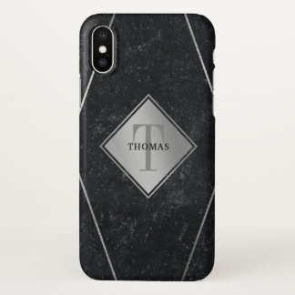 Capa Para iPhone X Prata masculino do granito do preto do monograma