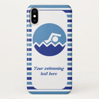 Capa Para iPhone X Presentes da natação, listras azuis do ícone do