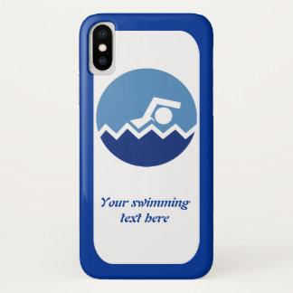 Capa Para iPhone X Presentes da natação, nadador em um ícone azul do