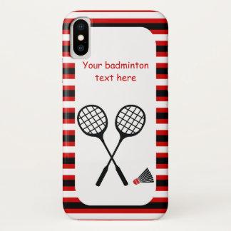 Capa Para iPhone X Presentes do Badminton, raquete e listras do
