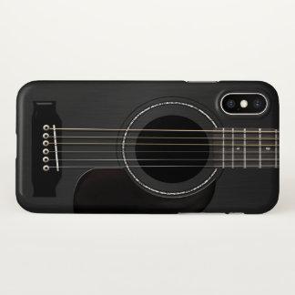 Capa Para iPhone X Preto da guitarra acústica