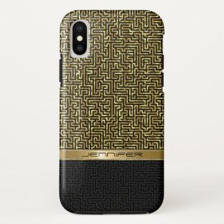 Capa Para iPhone X Preto & design geométrico moderno do ouro