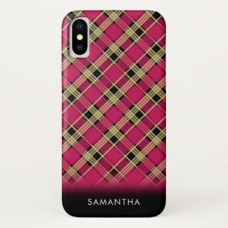 Capa Para iPhone X Preto diagonal do ouro do rosa da xadrez de Tartan