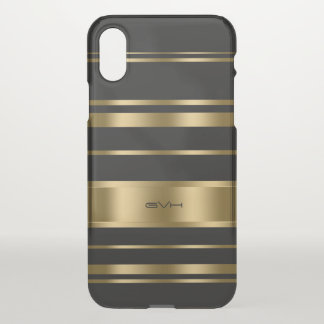 Capa Para iPhone X Preto & listras geométricas modernas do ouro