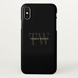 Capa Para iPhone X Preto minimalista moderno & cinzas do monograma