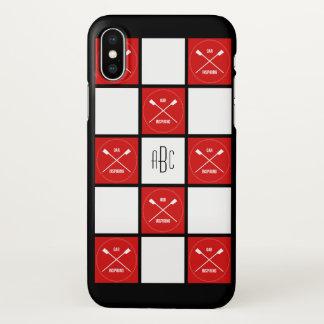 Capa Para iPhone X Quadrados brancos vermelhos do monograma dos