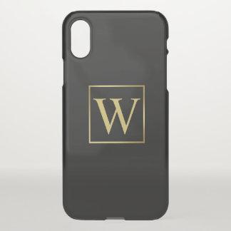Capa Para iPhone X Quadro minimalista do ouro do monograma masculino