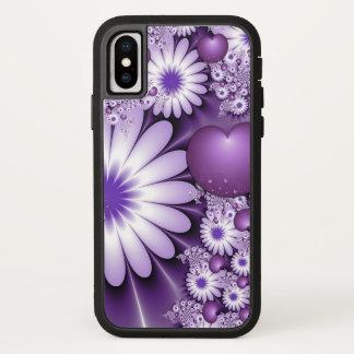 Capa Para iPhone X Queda no Fractal das flores & dos corações do