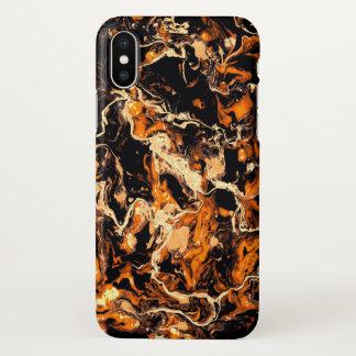 Capa Para iPhone X Queimadura de mármore alaranjada e preta do fulgor