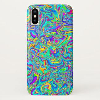 Capa Para iPhone X Redemoinhos molhados líquidos de néon da pintura