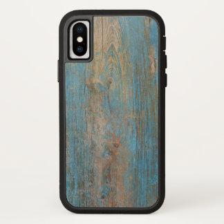 Capa Para iPhone X Refrigere a textura azul resistida da madeira da